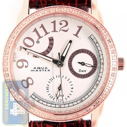 Aqua Master 0.50 ct Diamond Womens Leather Band Rose Steel Watch