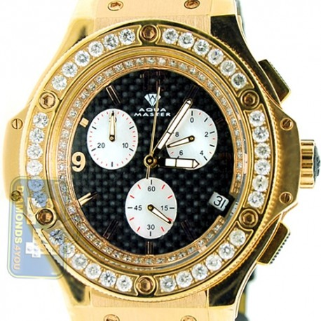 Aqua Master Oval Yellow Steel 4.00 ct Diamond Mens Watch