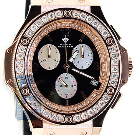 Aqua Master Oval 4.00 ct Diamond Mens Rose Gold Watch