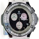 Aqua Master Oval 4.00 ct Diamond Mens Black Dial Watch