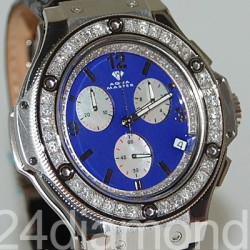 Aqua Master Oval 4.00 ct Diamond Mens Blue Dial Watch