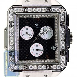 Aqua Master Square 4.25 ct Diamond Mens Black Leather Watch