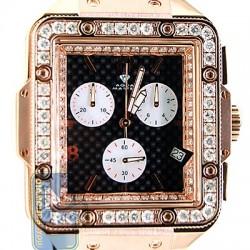 Aqua Master Square 4.25 ct Diamond Mens Black Dial Watch