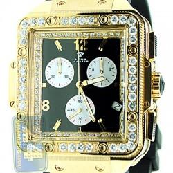Aqua Master Square 4.25 ct Diamond Mens Black Rubber Watch