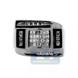 Black PVD 14K Gold 0.79 ct Diamond Mens Ring