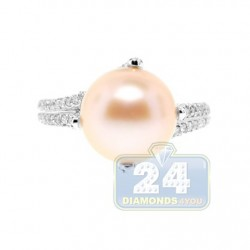 14K White Gold 0.60 ct Diamond Womens Pearl Ring