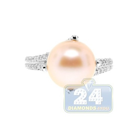 14K White Gold 0.60 ct Diamond Womens Pink Pearl Solitaire Ring