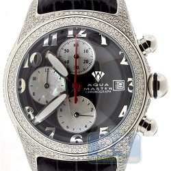 Aqua Master Round Bubble 3.50 ct Full Diamond Case Mens Black Dial Watch