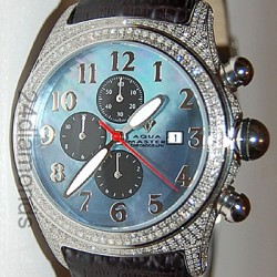 Aqua Master Round Bubble 3.50 ct Full Diamond Case Mens Blue Dial Watch