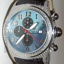 Aqua Master Round Bubble 3.50 ct Full Diamond Case Mens Blue Dial Watch