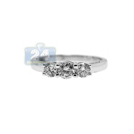 14K White Gold 0.80 ct Diamond 3 Stone Womens Band Ring