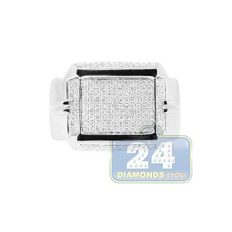 14K White Gold 0.73 ct Round Diamond Mens Rectangle Ring Signet