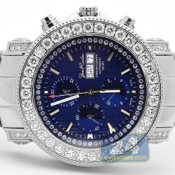 Mens Diamond Automatic Watch Joe Rodeo Junior Blue Dial 7.00 ct