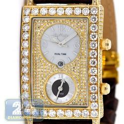 Joe Rodeo Manhattan Dual Time 13.00 ct Diamond 14K Gold Mens Watch