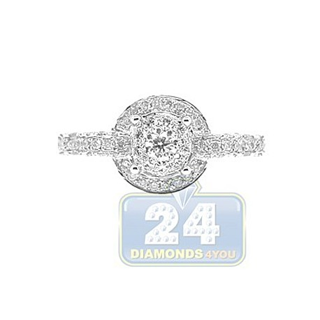 14K White Gold 0.98 ct Diamond Circles Womens Engagement Ring