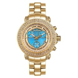 Womens Diamond Gold Watch Joe Rodeo Rio JRO14 1.25 ct Blue Dial