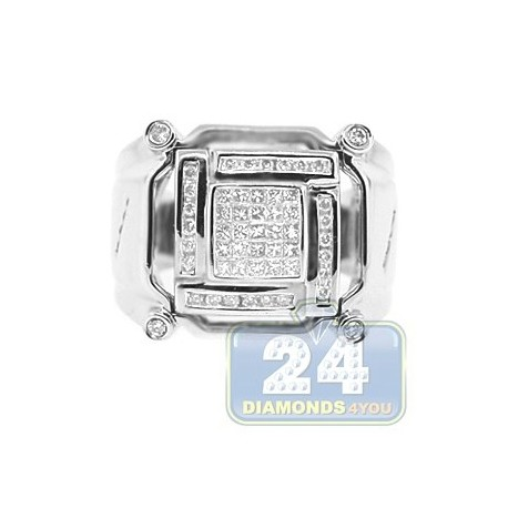 14K White Gold 0.67 ct Princess Round Cut Diamond Mens Signet Ring