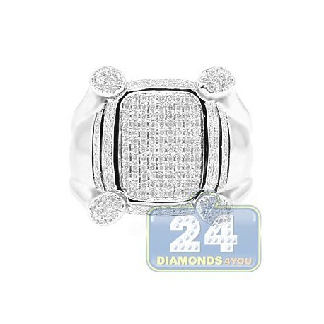 14K White Gold 0.88 ct Round Cut Diamond Mens Ring