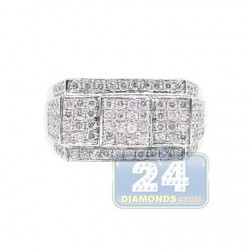 14K White Gold 1.10 ct Diamond Mens Signet Ring