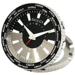 Gucci Quartz Round Steel Travel Alarm Clock Watch YC210001