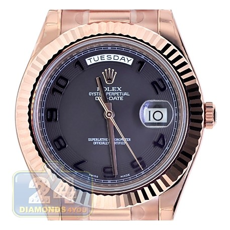 Rolex Day Date Ii President 18k Rose Gold Black Dial Watch 218235