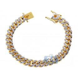 "Mens Diamond Miami Cuban Bracelet 14K Yellow Gold 11mm 8.75"""