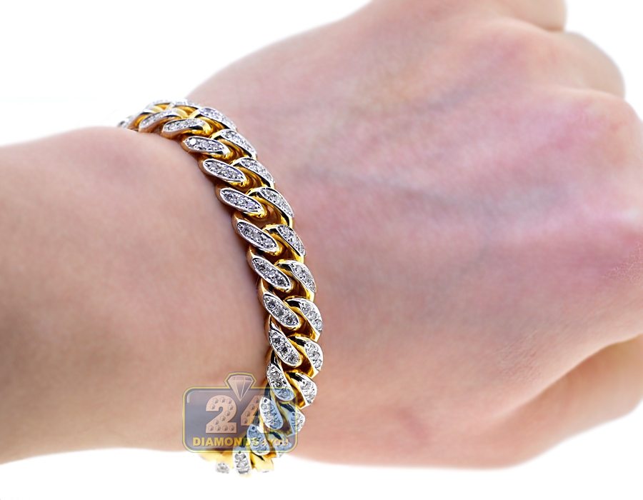 Mens Diamond Miami Cuban Bracelet 14K Yellow Gold 11mm 8.75\