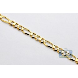 14K Yellow Gold Figaro Link Mens Chain 6.6 mm 26 Inches