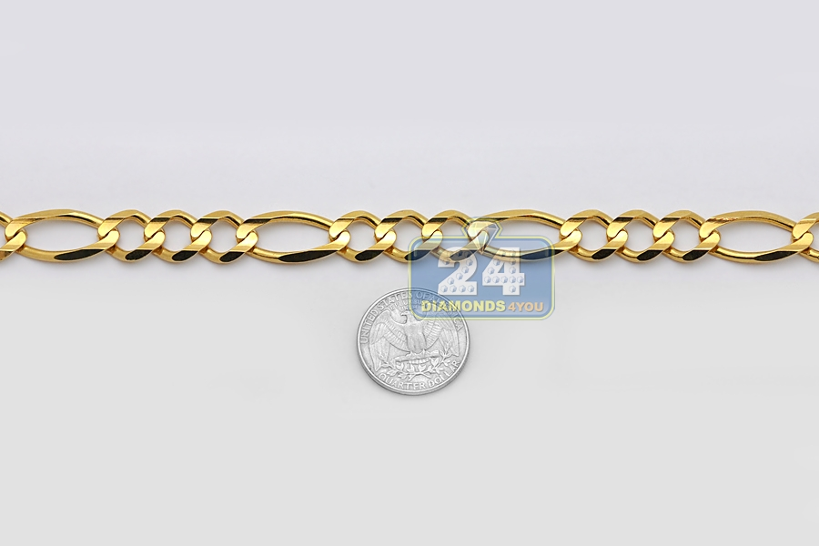 Solid 14k Yellow Gold Figaro Link Mens Chain Necklace 12 Mm