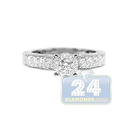 14K White Gold 0.75 ct Diamond Patterned Engagement Ring