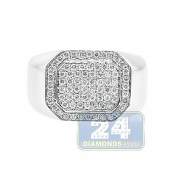 14K White Gold 0.71 ct Diamond Mens Rectangular Signet Ring