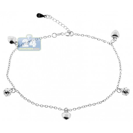 "Italian 925 Sterling Silver Charm Womens Leg Ankle Bracelet 10"""