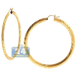 10K Yellow Gold Diamond Cut Hoop Earrings 3 mm 2 1/4 Inch