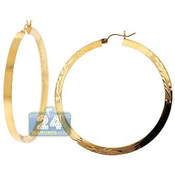 10K Yellow Gold Floral Round Hoop Earrings 4 mm 2 1/4 Inches