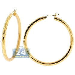10K Yellow Gold Diamond Cut Round Hoops Earrings 2 1/4 Inches