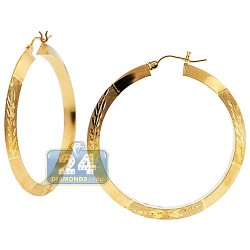 10K Yellow Gold Floral Pattern Hoop Earrings 4 mm 1 3/4 Inch