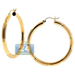 10K Yellow Gold Womens Round Hoop Earrings 4 mm 1 3/4 Inch