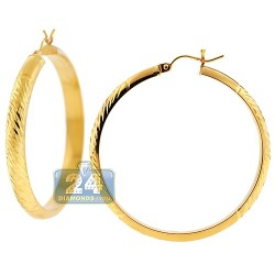 10K Yellow Gold Diamond Cut Hoops Earrings 5 mm 1 3/4 Inches