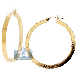10K Yellow Gold Diamond Cut Round Hoop Earrings 4 mm 1 3/4 Inch