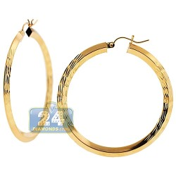 10K Yellow Gold Diamond Cut Pattern Hoop Earrings 3 mm 1 3/4 Inch