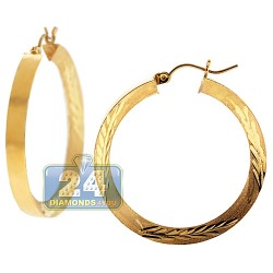 10K Yellow Gold Diamond Cut Hoop Earrings 4 mm 1 1/2 Inches