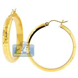 10K Yellow Gold Hammered Round Hoop Earrings 5 mm 1 1/2 Inch