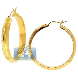 10K Yellow Gold Diamond Cut Round Hoop Earrings 5 mm 1 1/2 Inch