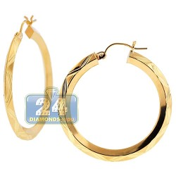 10K Yellow Gold Diamond Cut Design Hoop Earrings 3 mm 1 1/2 Inch
