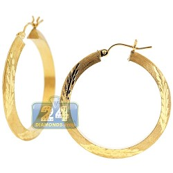 10K Yellow Gold Floral Pattern Hoop Earrings 4 mm 1 1/2 Inches
