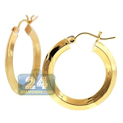 10K Yellow Gold Womens Round Hoop Earrings 3 mm 1 inch