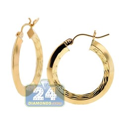 10K Yellow Gold Diamond Cut Womens Round Hoop Earrings 1 inch