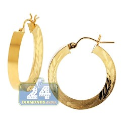 10K Yellow Gold Floral Pattern Round Hoop Earrings 4 mm 1 Inch