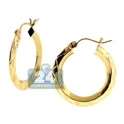 10K Yellow Gold Patterned Round Hoops Womens Earrings 1 Inch