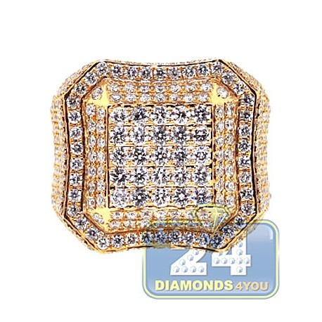 Mens Diamond Square Shape Signet Ring 14K Yellow Gold 3.79ct
